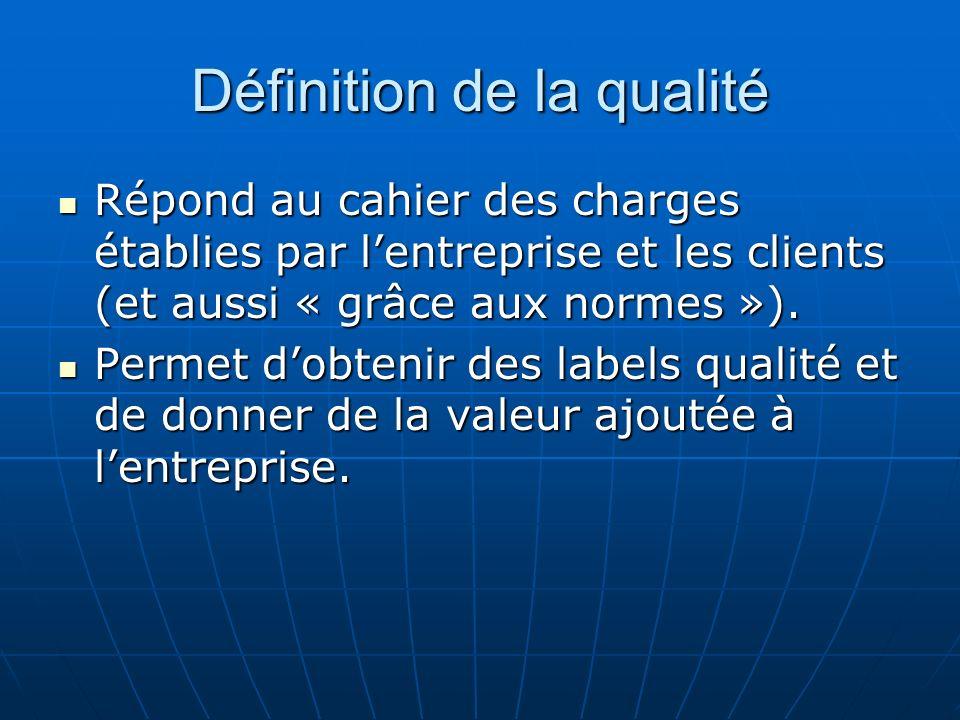 Définition de la qualité Répond au cahier des charges établies par lentreprise et les clients (et aussi « grâce aux normes »). Répond au cahier des ch