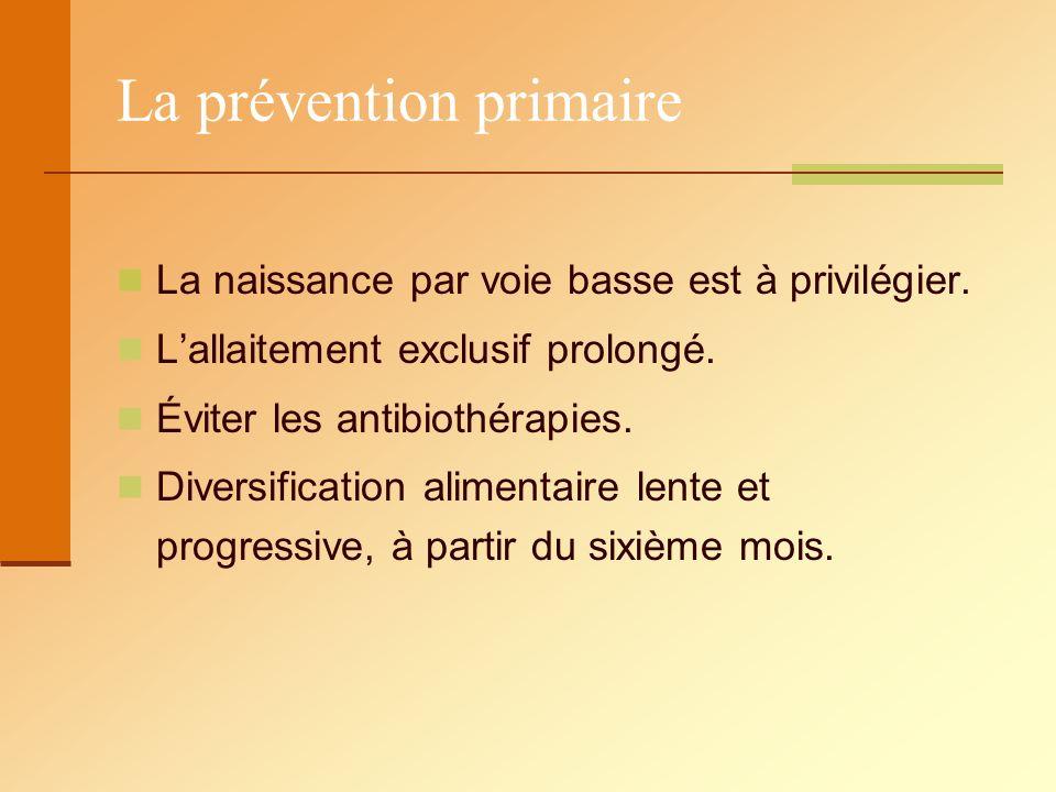 La prévention primaire La naissance par voie basse est à privilégier. Lallaitement exclusif prolongé. Éviter les antibiothérapies. Diversification ali