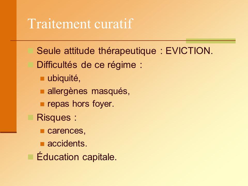Traitement curatif Seule attitude thérapeutique : EVICTION. Difficultés de ce régime : ubiquité, allergènes masqués, repas hors foyer. Risques : caren