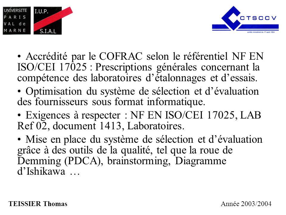 Accrédité par le COFRAC selon le référentiel NF EN ISO/CEI 17025 : Prescriptions générales concernant la compétence des laboratoires détalonnages et d