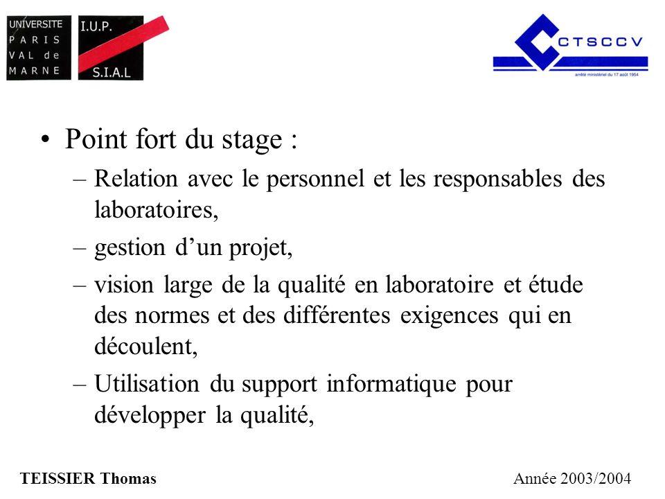 Point fort du stage : –Relation avec le personnel et les responsables des laboratoires, –gestion dun projet, –vision large de la qualité en laboratoir