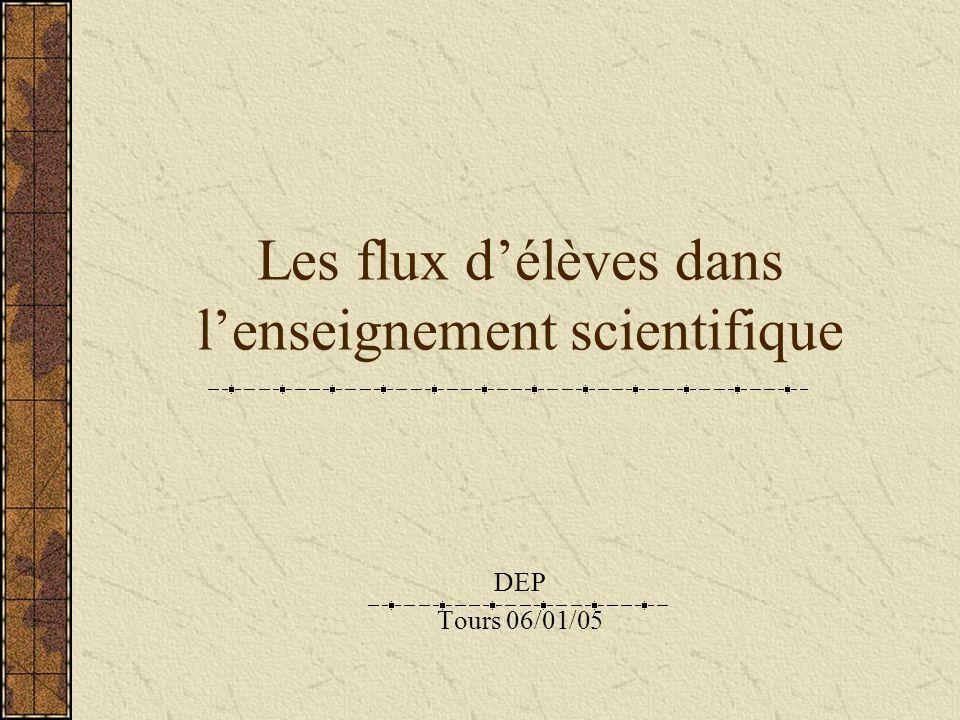 Les flux délèves dans lenseignement scientifique DEP Tours 06/01/05