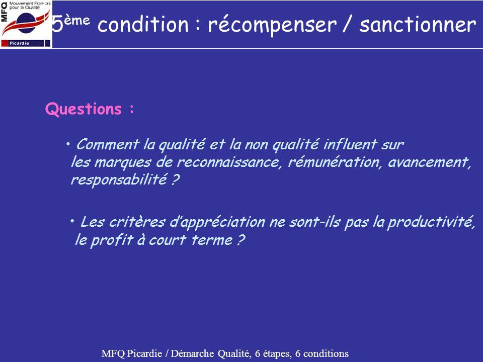 5 ème condition : récompenser / sanctionner MFQ Picardie / Démarche Qualité, 6 étapes, 6 conditions Constat : Lerreur est admissible, sa répétition ne lest pas