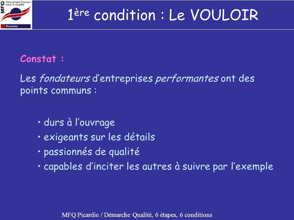 Démarche Qualité, 6 conditions MFQ Picardie / Démarche Qualité, 6 étapes, 6 conditions UN SYSTEME ASSOCIER LES ACTEURS EVALUER RECOMPENSER / SANCTIONNER STIMULER ET FAIRE EVOLUER LE VOULOIR