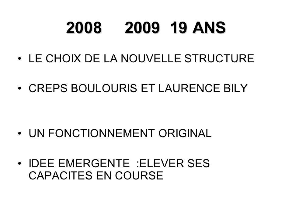 2008 2009 19 ANS LE CHOIX DE LA NOUVELLE STRUCTURE CREPS BOULOURIS ET LAURENCE BILY UN FONCTIONNEMENT ORIGINAL IDEE EMERGENTE :ELEVER SES CAPACITES EN COURSE