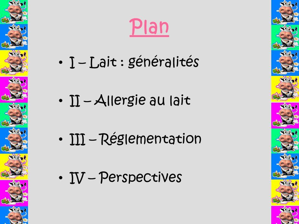 Plan I – Lait : généralités II – Allergie au lait III – Réglementation IV – Perspectives
