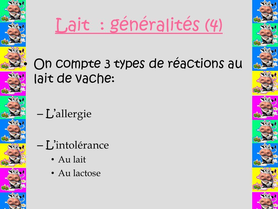 Lait : généralités (4) On compte 3 types de réactions au lait de vache: – L allergie – L intolérance Au lait Au lactose