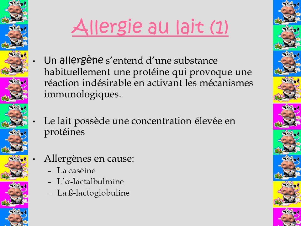 Allergie au lait (1) Un allergène sentend dune substance habituellement une protéine qui provoque une réaction indésirable en activant les mécanismes immunologiques.