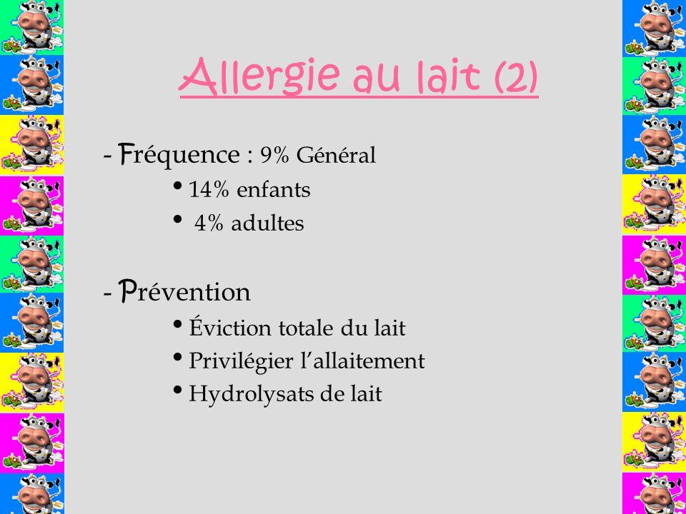 - F réquence : 9% Général 14% enfants 4% adultes - P révention Éviction totale du lait Privilégier lallaitement Hydrolysats de lait Allergie au lait (2)