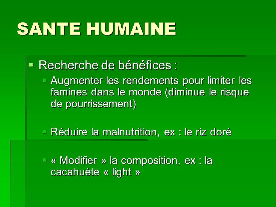 SANTE HUMAINE Recherche de bénéfices : Recherche de bénéfices : Augmenter les rendements pour limiter les famines dans le monde (diminue le risque de