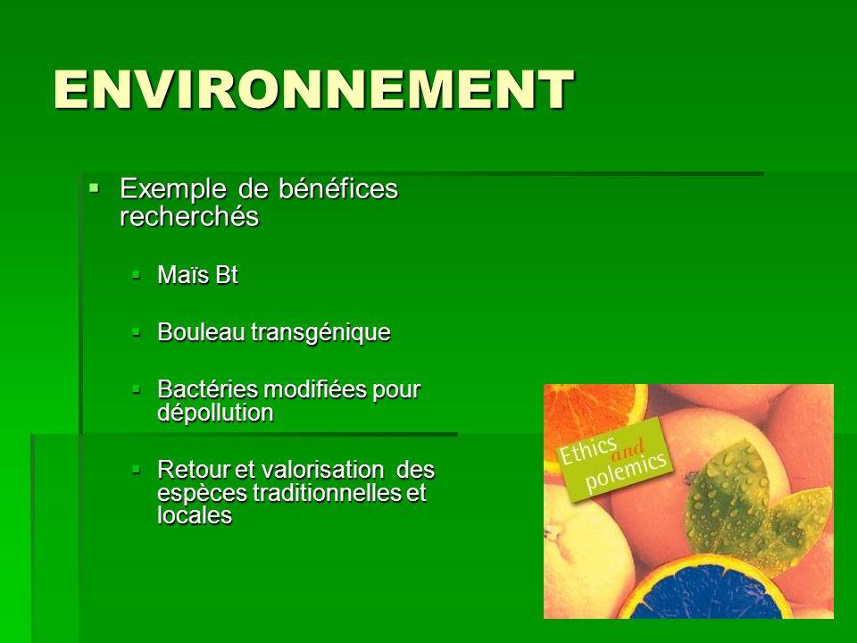 ENVIRONNEMENT : RISQUES Augmentation de lutilisation de pesticides en fonction du type dOGM Augmentation de lutilisation de pesticides en fonction du type dOGM Dissémination du gène de résistance dans la nature : baisse de la biodiversité Dissémination du gène de résistance dans la nature : baisse de la biodiversité Apparition dinsectes ou de « mauvaises herbes » résistantes aux toxines ou pesticides Apparition dinsectes ou de « mauvaises herbes » résistantes aux toxines ou pesticides