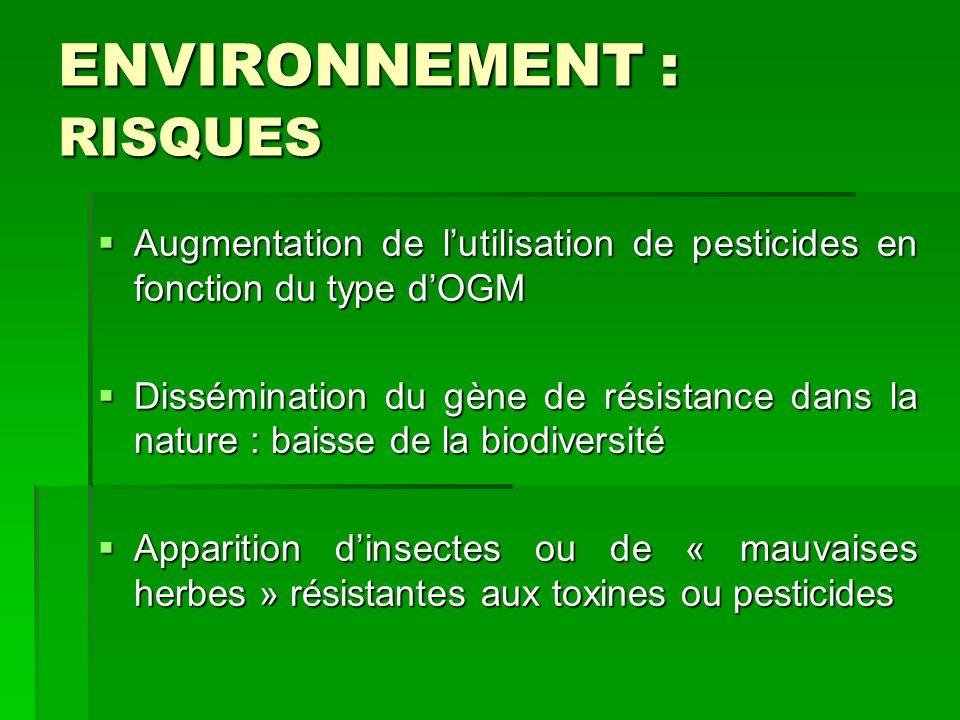ENVIRONNEMENT : RISQUES Augmentation de lutilisation de pesticides en fonction du type dOGM Augmentation de lutilisation de pesticides en fonction du