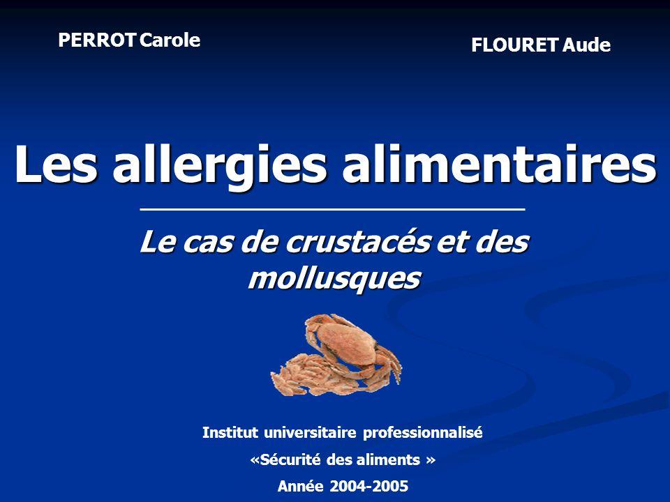 Homard Langouste Crevette Aliment très allergisant Allergie : par contact, ingestion, inhalation Allergènes : - au nombre de 2 (mineur: thermolabile (21 kDa)) - Masqués - entre crevettes blanches et grises Allergène majeur : - Taille : 38 kDa - Thermostable Les crustacés 2.