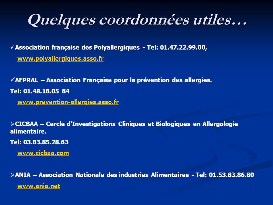 Quelques coordonnées utiles… Association française des Polyallergiques - Tel: 01.47.22.99.00, www.polyallergiques.asso.fr AFPRAL – Association Françai