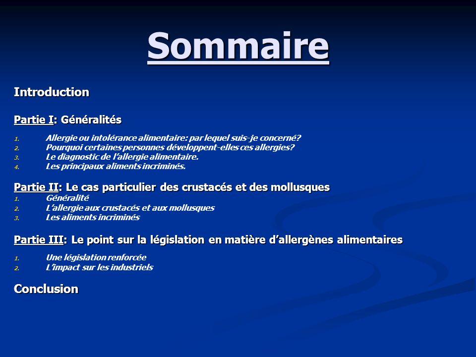 Sommaire Introduction Partie I: Généralités 1. 1. Allergie ou intolérance alimentaire: par lequel suis-je concerné? 2. 2. Pourquoi certaines personnes