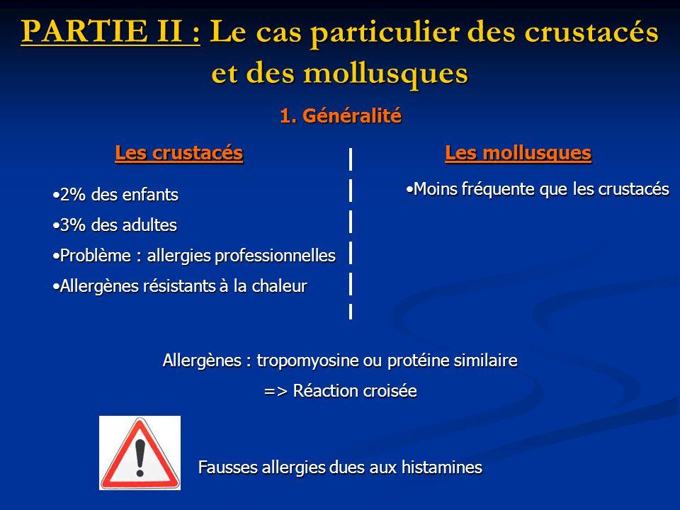 PARTIE II : Le cas particulier des crustacés et des mollusques Les crustacés Les mollusques Fausses allergies dues aux histamines 2% des enfants2% des
