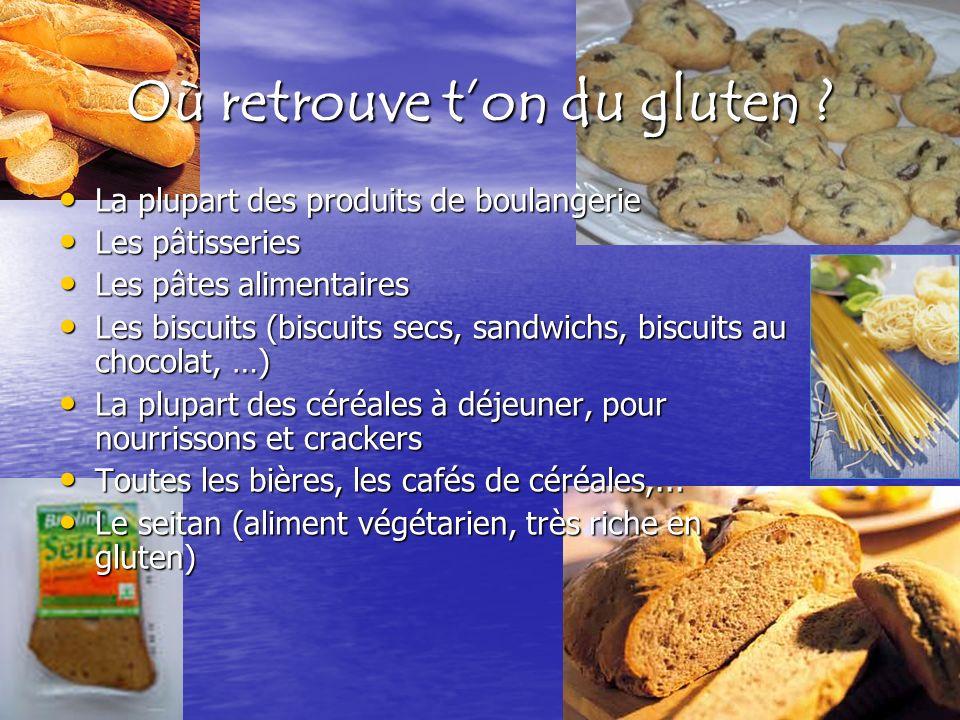 Où retrouve ton du gluten ? La plupart des produits de boulangerie La plupart des produits de boulangerie Les pâtisseries Les pâtisseries Les pâtes al
