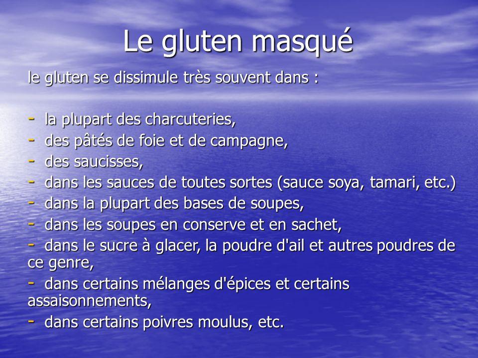 Le gluten masqué le gluten se dissimule très souvent dans : - la plupart des charcuteries, - des pâtés de foie et de campagne, - des saucisses, - dans