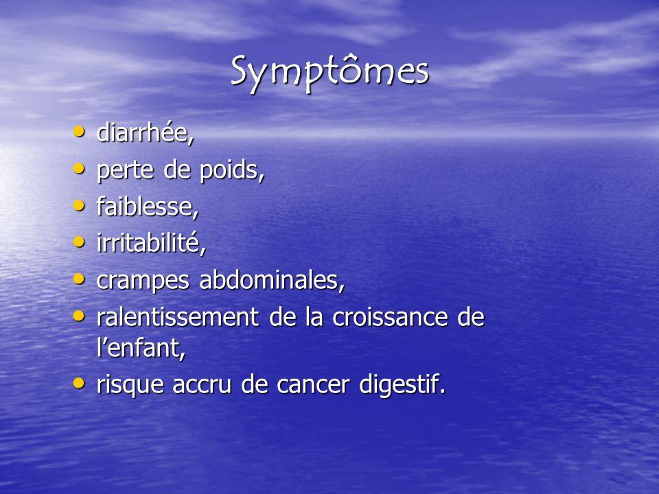 Symptômes diarrhée, diarrhée, perte de poids, perte de poids, faiblesse, faiblesse, irritabilité, irritabilité, crampes abdominales, crampes abdominal