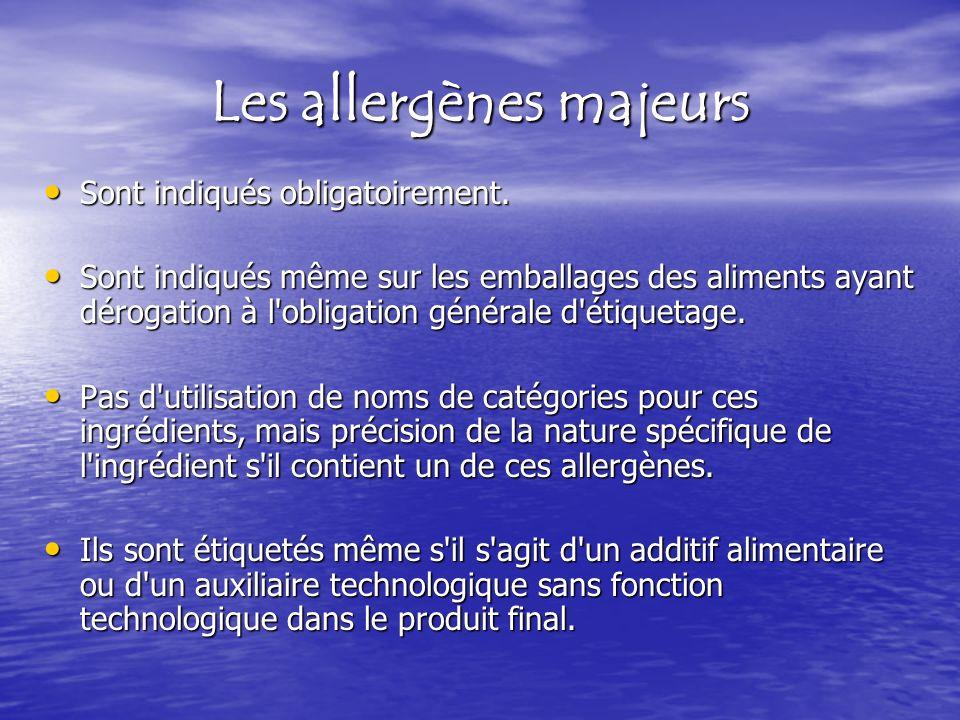 Les allergènes majeurs Sont indiqués obligatoirement. Sont indiqués obligatoirement. Sont indiqués même sur les emballages des aliments ayant dérogati