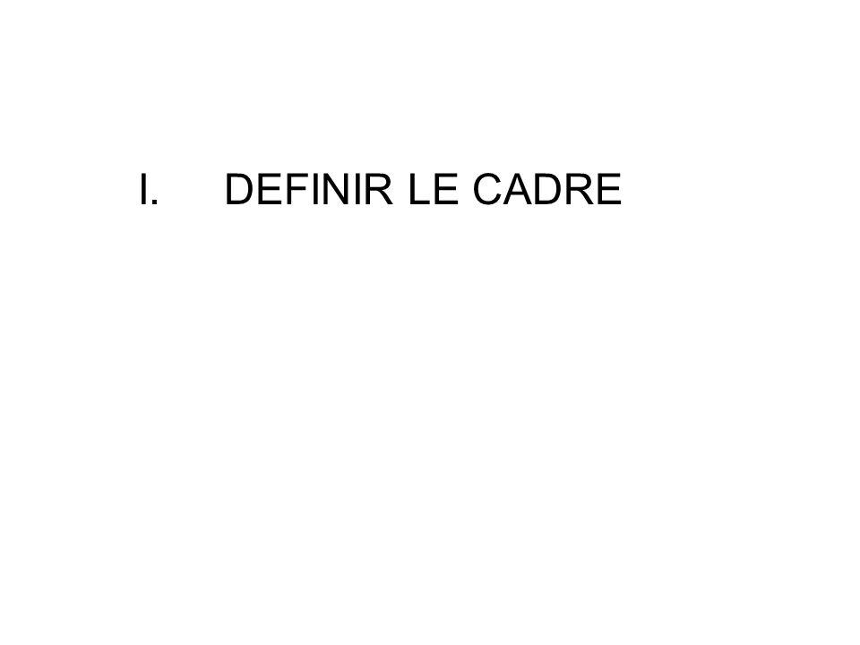 I.DEFINIR LE CADRE