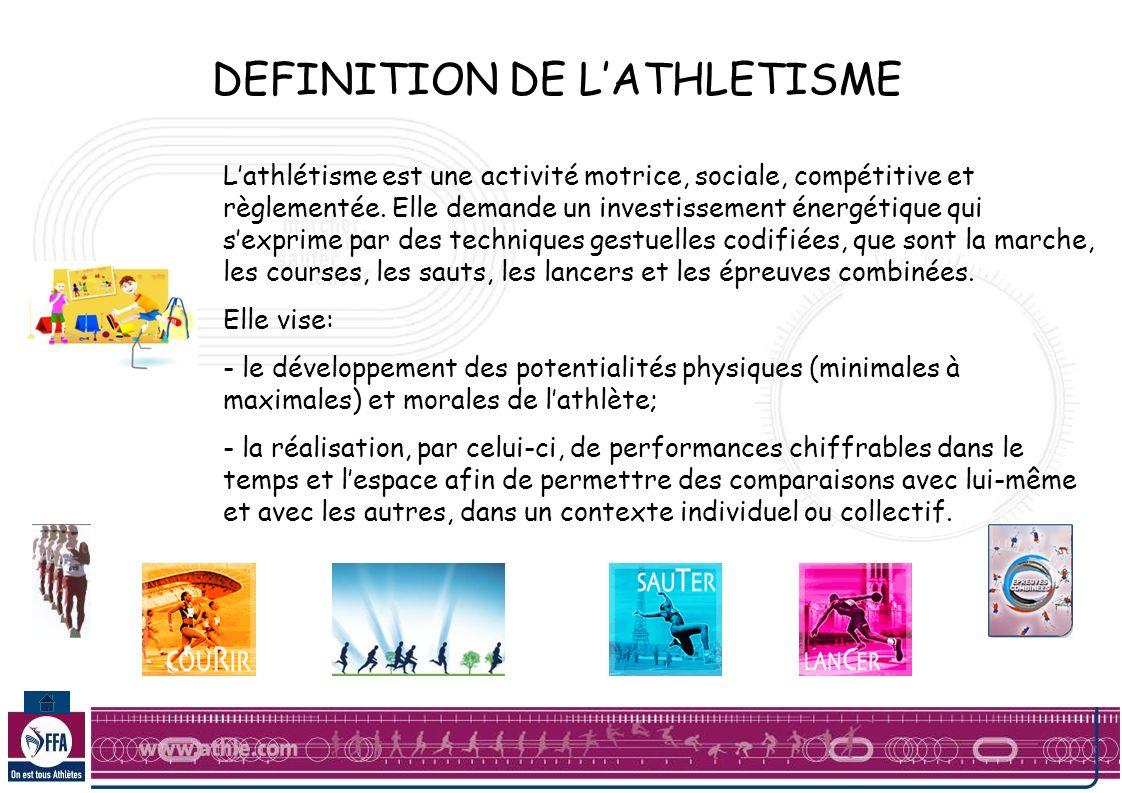 DEFINITION DE LATHLETISME Lathlétisme est une activité motrice, sociale, compétitive et règlementée.