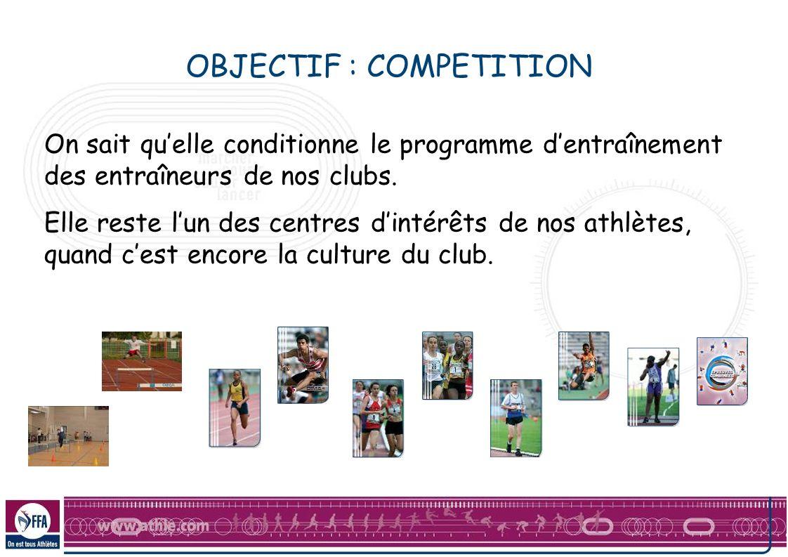 OBJECTIF : COMPETITION On sait quelle conditionne le programme dentraînement des entraîneurs de nos clubs.
