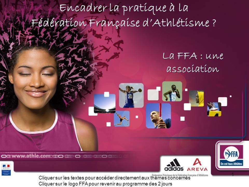 Encadrer la pratique à la Fédération Française dAthlétisme ? La FFA : une association La FFA : une association 1 Cliquer sur les textes pour accéder d