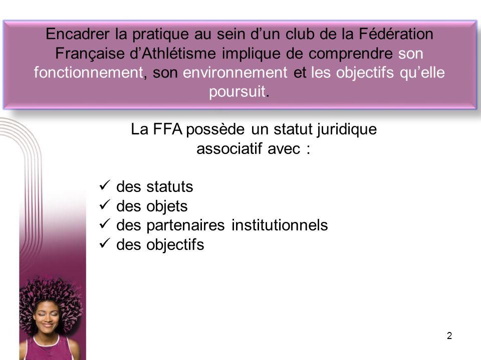 Encadrer la pratique au sein dun club de la Fédération Française dAthlétisme implique de comprendre son fonctionnement, son environnement et les objec