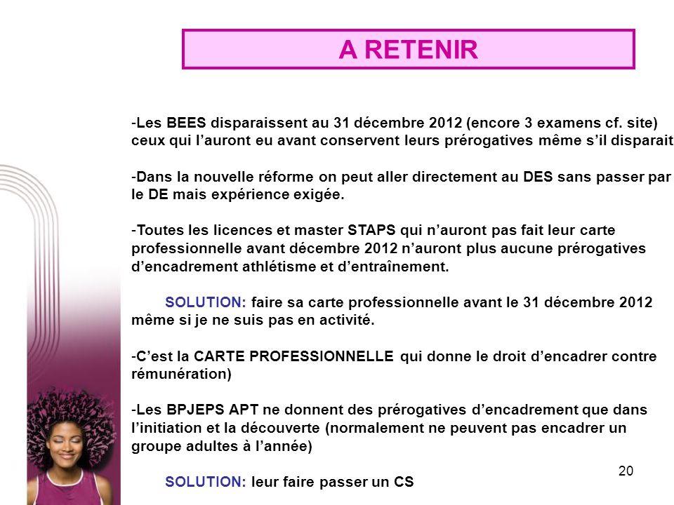 20 A RETENIR -Les BEES disparaissent au 31 décembre 2012 (encore 3 examens cf. site) ceux qui lauront eu avant conservent leurs prérogatives même sil
