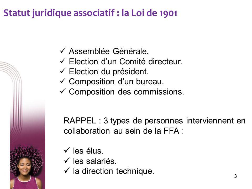 Statut juridique associatif : la Loi de 1901 Assemblée Générale. Election dun Comité directeur. Election du président. Composition dun bureau. Composi