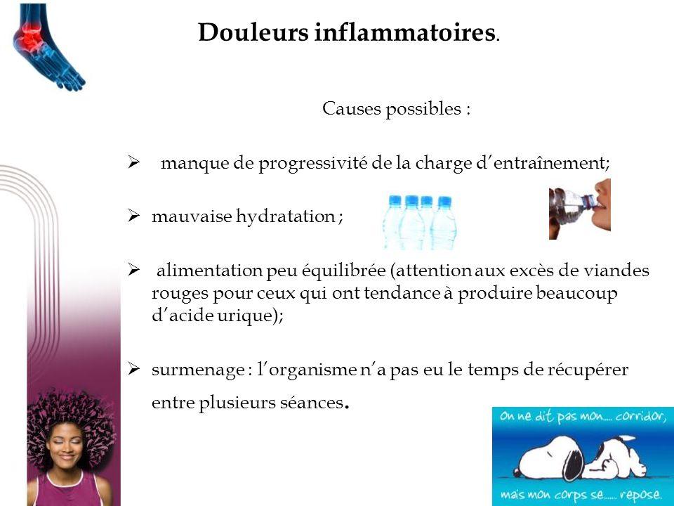 Causes possibles : manque de progressivité de la charge dentraînement; mauvaise hydratation ; alimentation peu équilibrée (attention aux excès de vian