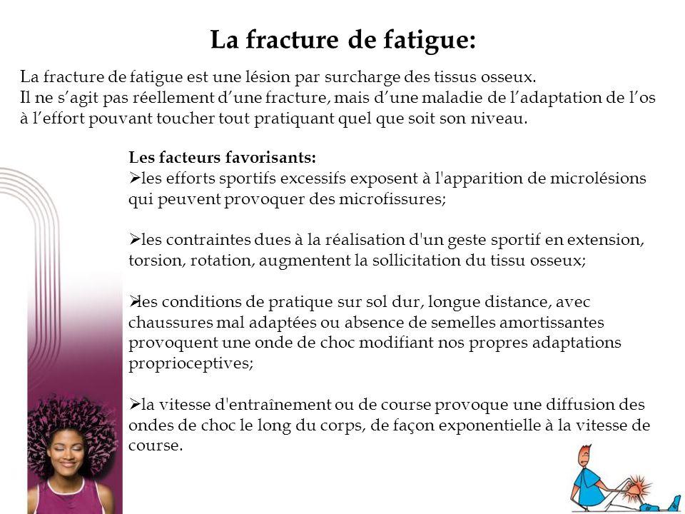24 La fracture de fatigue: La fracture de fatigue est une lésion par surcharge des tissus osseux. Il ne sagit pas réellement dune fracture, mais dune
