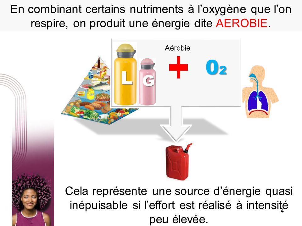 4 En combinant certains nutriments à loxygène que lon respire, on produit une énergie dite AEROBIE. Cela représente une source dénergie quasi inépuisa