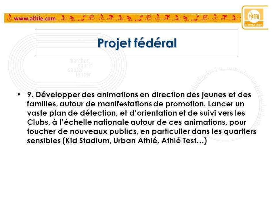 Projet fédéral 9. Développer des animations en direction des jeunes et des familles, autour de manifestations de promotion. Lancer un vaste plan de dé