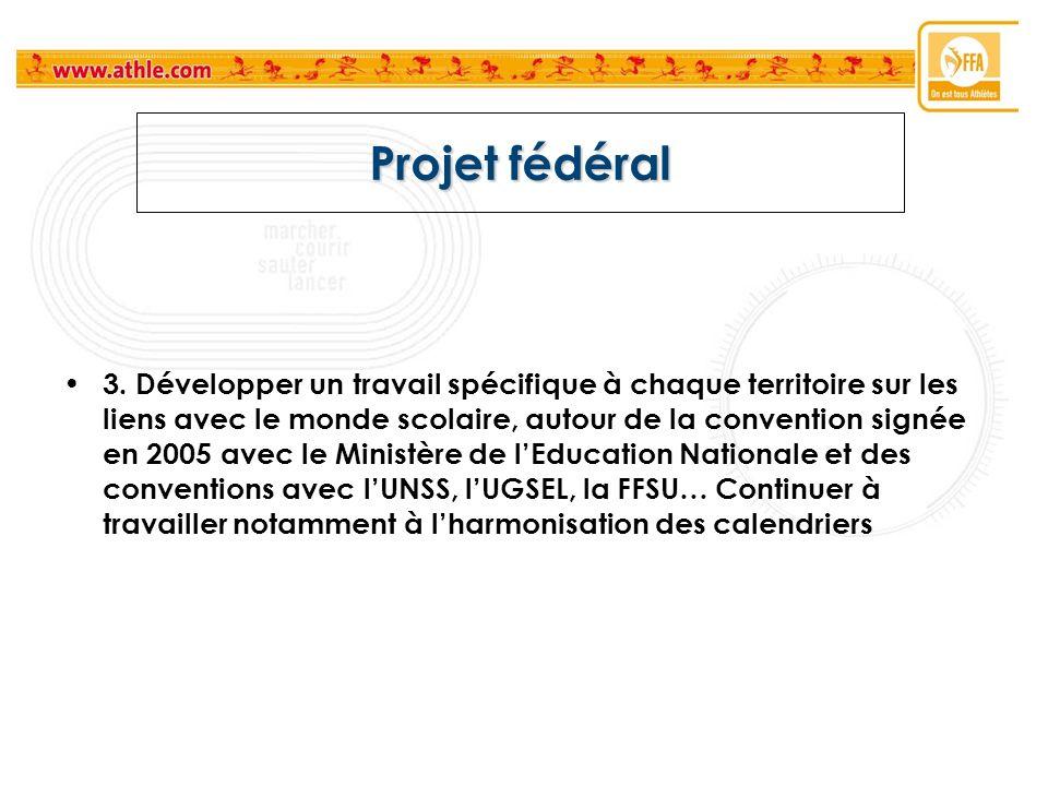 Projet fédéral 3. Développer un travail spécifique à chaque territoire sur les liens avec le monde scolaire, autour de la convention signée en 2005 av