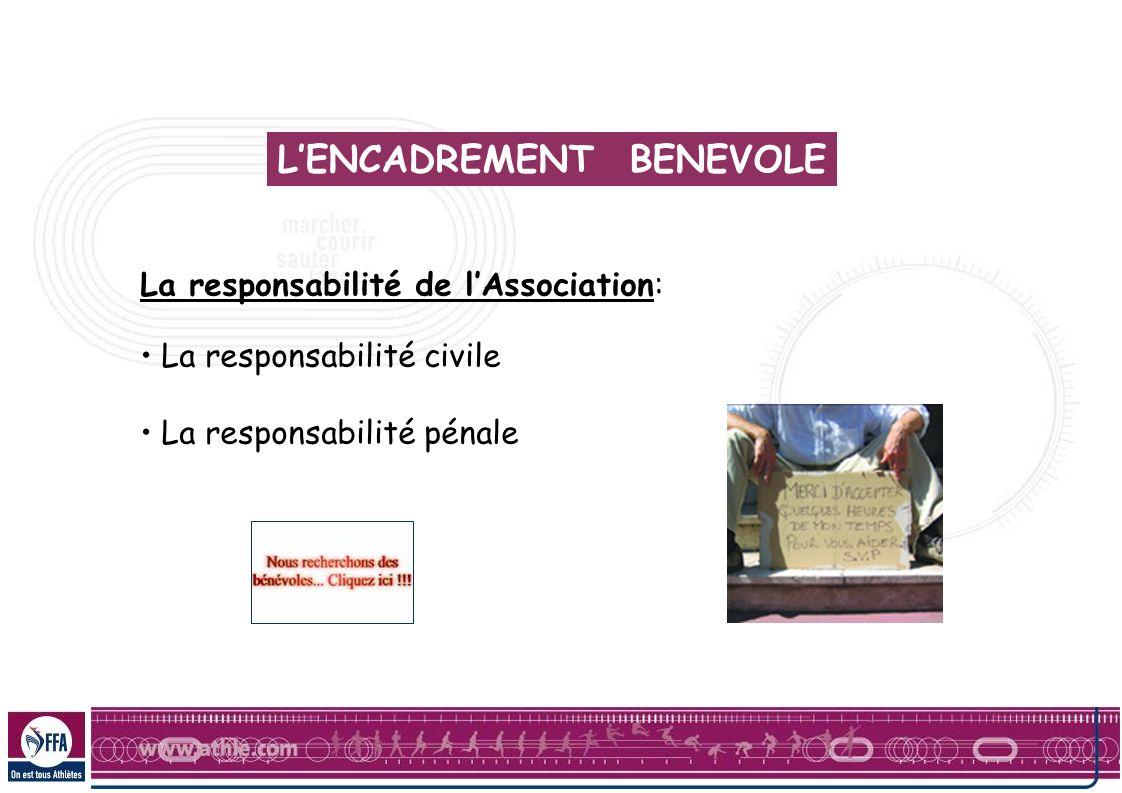 La responsabilité de lAssociation: La responsabilité civile La responsabilité pénale LENCADREMENT BENEVOLE