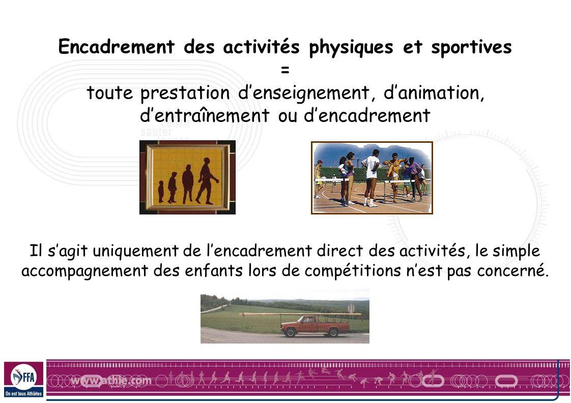 Encadrement des activités physiques et sportives = toute prestation denseignement, danimation, dentraînement ou dencadrement Il sagit uniquement de le
