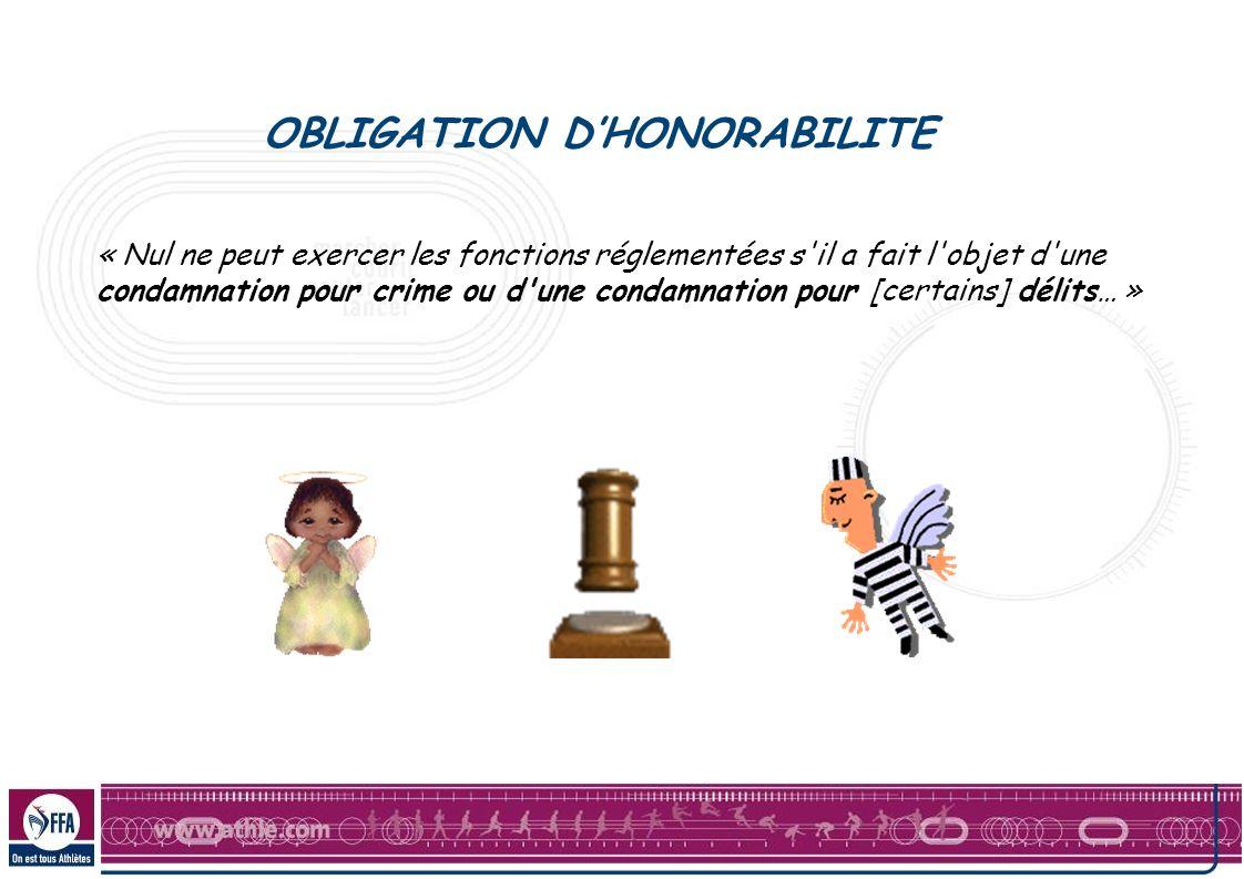 OBLIGATION DHONORABILITE « Nul ne peut exercer les fonctions réglementées s'il a fait l'objet d'une condamnation pour crime ou d'une condamnation pour