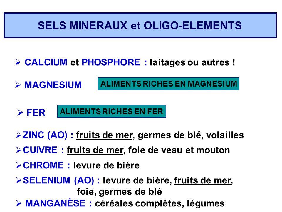 SELS MINERAUX et OLIGO-ELEMENTS CALCIUM et PHOSPHORE : laitages ou autres ! MAGNESIUM ALIMENTS RICHES EN MAGNESIUM FER ZINC (AO) : fruits de mer, germ
