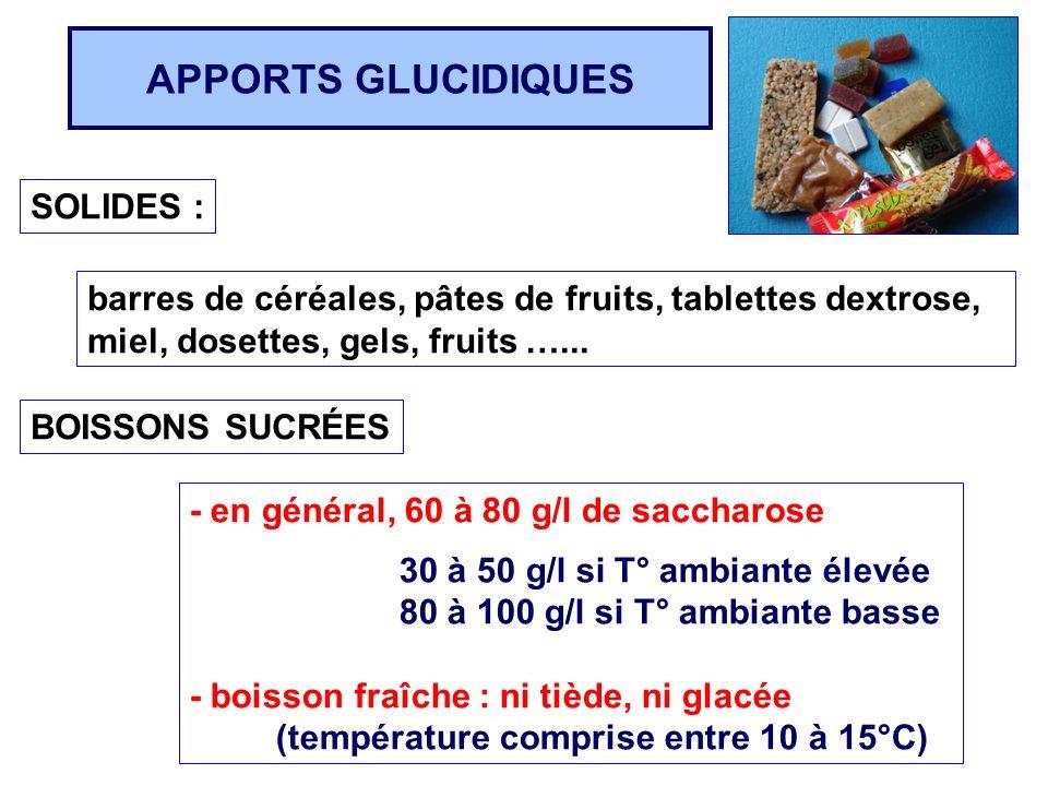 APPORTS GLUCIDIQUES SOLIDES : barres de céréales, pâtes de fruits, tablettes dextrose, miel, dosettes, gels, fruits …... BOISSONS SUCRÉES - en général