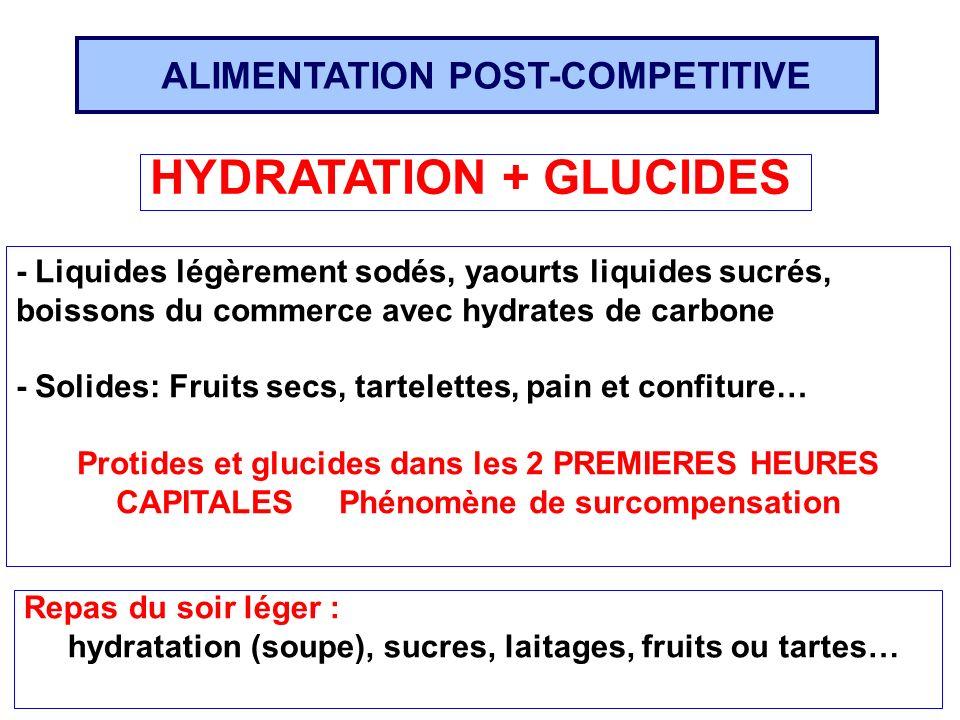 ALIMENTATION POST-COMPETITIVE HYDRATATION + GLUCIDES Repas du soir léger : hydratation (soupe), sucres, laitages, fruits ou tartes… - Liquides légèrem