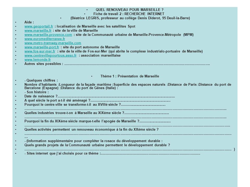 QUEL RENOUVEAU POUR MARSEILLE ? Fiche de travail 2 : RECHERCHE INTERNET (Béatrice LEGRIS, professeur au collège Denis Diderot, 95 Deuil-la-Barre) Aide