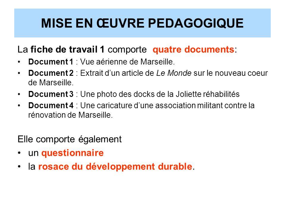 MISE EN ŒUVRE PEDAGOGIQUE La fiche de travail 1 comporte quatre documents: Document 1 : Vue aérienne de Marseille. Document 2 : Extrait dun article de