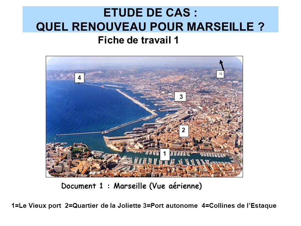 ETUDE DE CAS : QUEL RENOUVEAU POUR MARSEILLE ? 1 2 4444 N Document 1 : Marseille (Vue aérienne) 1=Le Vieux port 2=Quartier de la Joliette 3=Port auton