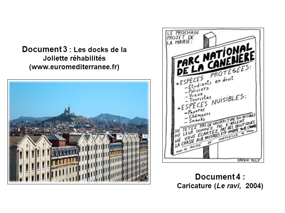 Document 3 : Les docks de la Joliette réhabilités (www.euromediterranee.fr) Document 4 : Caricature (Le ravi, 2004)