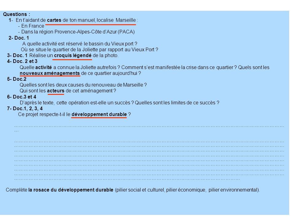Questions : 1- En taidant de cartes de ton manuel, localise Marseille : - En France - Dans la région Provence-Alpes-Côte dAzur (PACA) 2- Doc. 1 A quel
