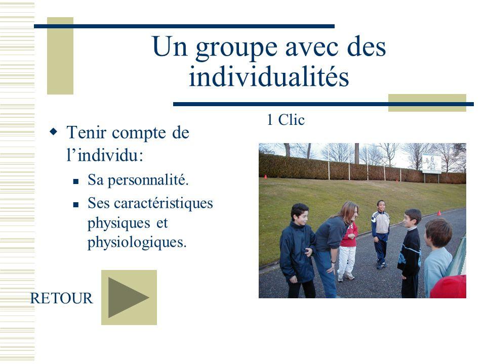 Un groupe avec des individualités Tenir compte de lindividu: Sa personnalité. Ses caractéristiques physiques et physiologiques. RETOUR 1 Clic