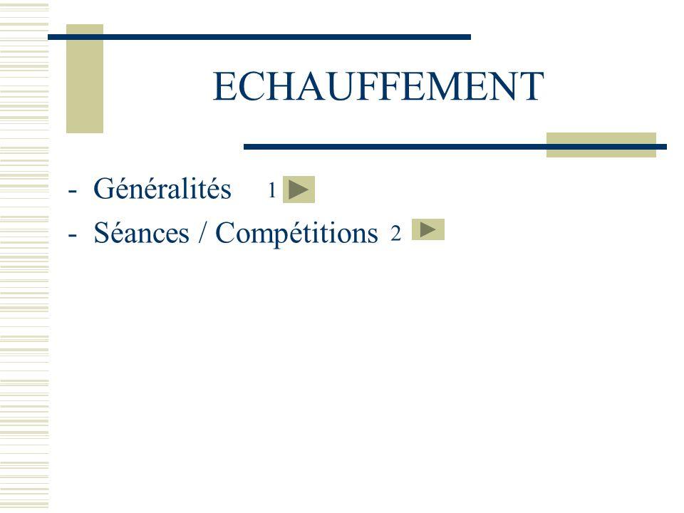 ECHAUFFEMENT -Généralités -Séances / Compétitions 1 2
