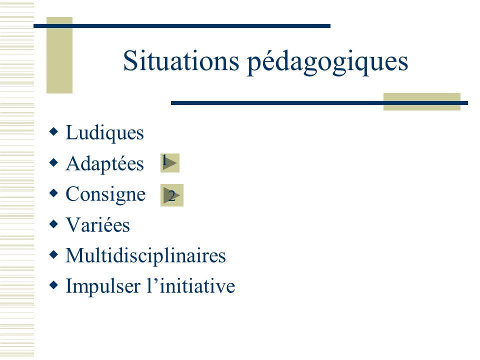 Situations pédagogiques Ludiques Adaptées Consigne Variées Multidisciplinaires Impulser linitiative 2 1